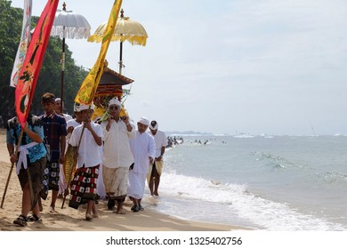 Malang, East Java / Indonesia - March 25th 2017 : Some hinduism people were doing melasti in Balekambang beach.