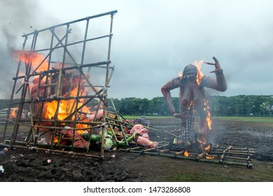 Malang, East Java / Indonesia - March 20 2015 : Burning Ogoh-Ogoh as a reflection of evil in the celebration of Nyepi Day