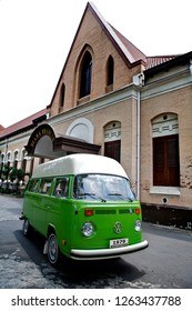 Malang, East Java / Indonesia - November 16, 2011 : Volkswagen Kombi T2 Highroof,  Green color, year 1979.