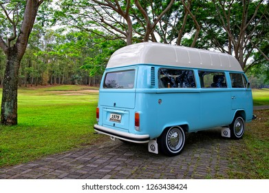 Malang, East Java / Indonesia - November 16, 2011 : Volkswagen Kombi T2 Highroof,  Blue color, year 1979.