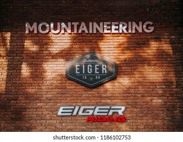 MALANG, East Java - SEPTEMBER 16th 2018 : Eiger is the most renowned company in Indonesia specialized in manufacturing and retailing adventure equipments and was inspired by mount Eiger, Switzerland.