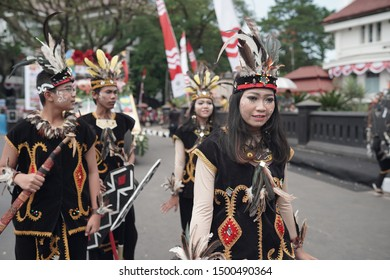 Malang / Indonesia - Aug 25 2019 : The crowd of festival celebrating Indonesian Independence. Lot of Indonesian wearing traditional clothes and show traditional dance.