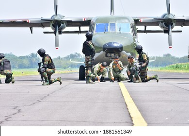 MALANG, INDONESIA - MARCH 21, 2018: A group of air force military soldiers are planning their strategy in Malang, Indonesia.