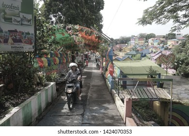Malang, Indonesia November 2017: Alley in Kampung Jodipan Malang, Indonesia. a colorful village in Malang Indonesia that open for tourism activity