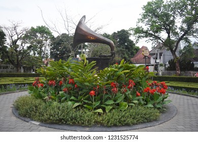 Malang, Indonesia - October 19, 2018: Old gramaphone decorates a city park in Malang, East Java, Indonesia