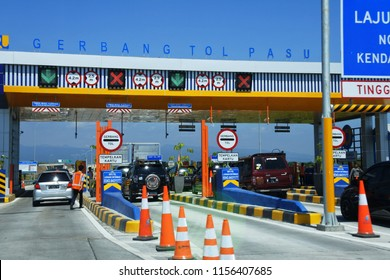 Malang-June 18, 2018: toll road ticket from Malang to Surabaya precisely in Pasuruan, East Java, Indonesia