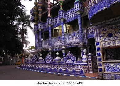 Malang-June 20, 2018: architectural style and visitors to the Tiban mosque in Turen, Malang, East Java, Indonesia
