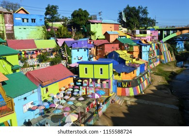 Malang-June 20, 2018: Jodipan color village (Kampung Warna Jodipan) with all the activities in it being an interesting attraction for tourists, East Java, Indonesia