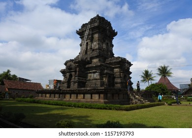 Malang-June 20, 2018: People visiting Singosari Temple is well known for historical ancient monument especially during hinduism kingdom era (Ken Arok),  East Java, Indonesia
