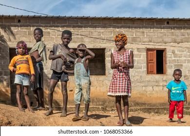 MALANJE/ANGOLA - 10 MAR 2018 - Portrait of African kids in the province of Malanje Angola.