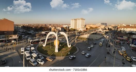 MALATYA -TURKEY 21 NOVENBER, 2016 . Apricot symbol sculpture. General view of Malatya center