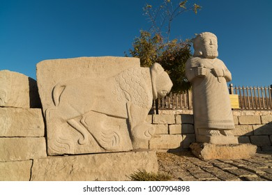 MALATYA - TURKEY - JANUARY 20, 2017; The remains of the historic Aslantepe. Malatya province history and tourist attractions. Prehistoric sculptures and buildings.