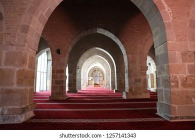 Malatya, Turkey - July 30, 2018 : Ulu Mosque view in Battalgazi Town of Malatya Province. Battalgazi is historical Town in Turkey