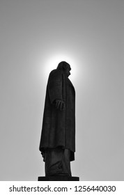 Malatya / Turkey - May, 1, 2018: Statue of Ismet Inonu, Second Elected President of Turkish Republic at noon (  black and white)