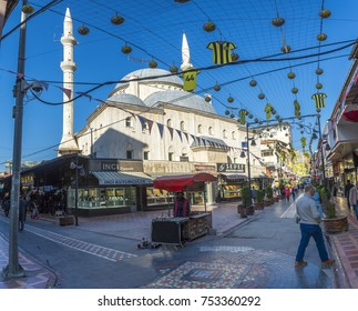 Malatya, Turkey - November 02, 2017 : People are shopping around on Sogutlu Mosque in Malatya City. Malatya is modern city at eastern part of Turkey.