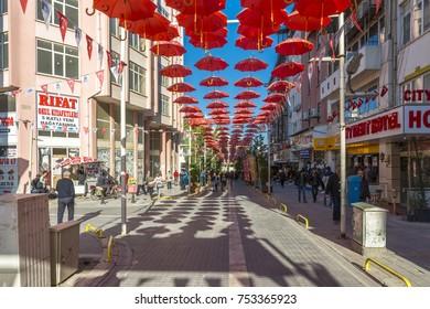 Malatya, Turkey - November 02, 2017 : People are shopping on PTT street in Malatya City. Malatya is modern city at eastern part of Turkey.