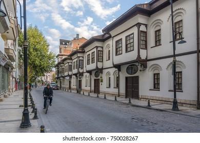 Malatya, Turkey - October 31, 2017 : Beskonaklar Street view in Malatya City. Beskonaklar houses are old Ottoman Houses in Malatya City.