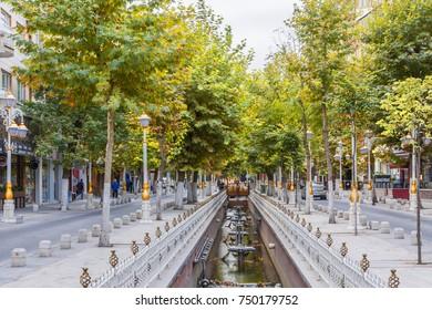 Malatya, Turkey - October 31, 2017 : Kanalboyu Street view in Malatya City. Malatya is a modern city in Anatolia.