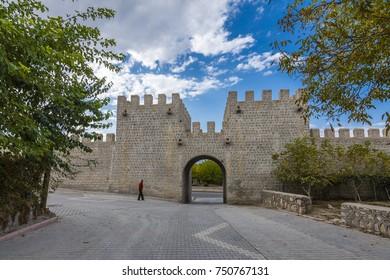 Malatya, Turkey - October 31, 2017 : Historical Roman walls view in Battalgazi Town of Malatya Province. Battalgazi is historical Town in Turkey