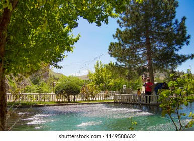 MALATYA-DARENDE, TURKEY - 23 APRIL 2018: View of the Somuncubaba Mosque area and pool view