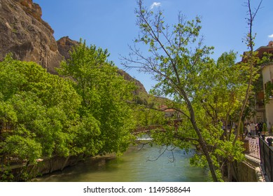MALATYA-DARENDE, TURKEY - 23 APRIL 2018: View of the Somuncubaba Mosque area and river view