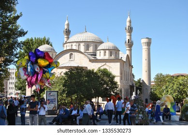 MALATYA/TURKEY - August, 2017 : New Mosque view in Malatya City. New Mosque is Populer Tourist Destination in Malatya City. People are having Rest and Shopping around it.