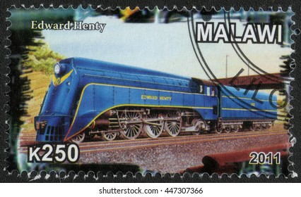 "MALAWI - CIRCA 2011: A post stamp printed in Malawi shows a series of images ""History of rail transport"", circa 2011"