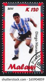 Malawi - CIRCA 2011: stamp printed by Malawi, shows Diego Maradona, circa 2011