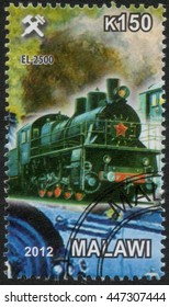 """MALAWI - CIRCA 2012: A post stamp printed in Malawi shows a series of images """"History of rail transport"""", circa 2012"""