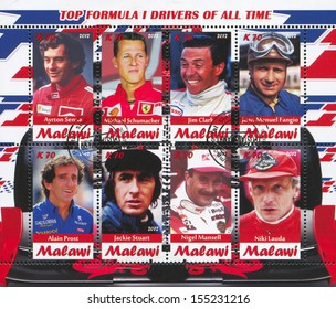Malawi - CIRCA 2012: stamp printed by Malawi, shows Formula 1 drivers, circa 2012