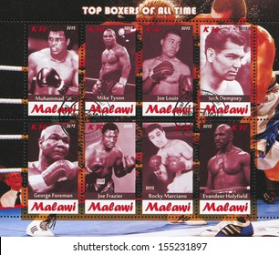 Malawi - CIRCA 2012: stamp printed by Malawi, shows great boxers, circa 2012