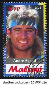 Malawi - CIRCA 2012: stamp printed by Malawi, shows Andre Agassi, circa 2012