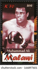 Malawi - CIRCA 2012: A stamp printed in Malawi shows Muhammad Ali, circa 2012