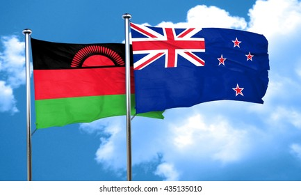 Malawi flag with New Zealand flag, 3D rendering
