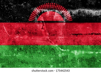 Malawi Flag painted on grunge wall