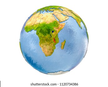 Malawi highlighted in red on model of Earth. 3D illustration isolated on white background. Elements of this image furnished by NASA.