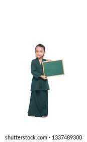 Malay girl holding a blank black board