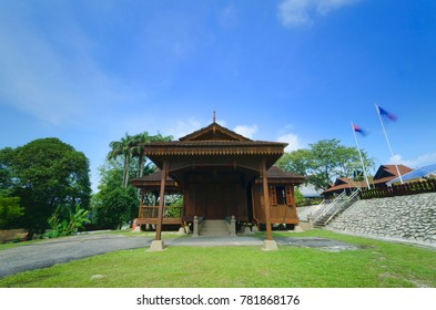 Malay (Johor) heritage house with blue sky as background