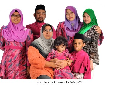 Malay muslim family, isolate on white background