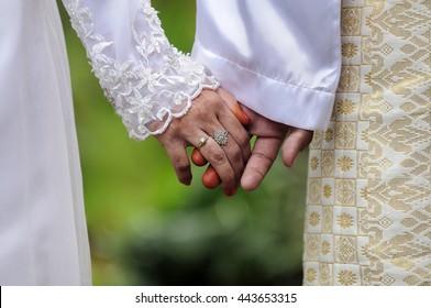 Malay, muslim wedding traditional, Happy bride and groom on their wedding. Malay wedding. Asian Wedding. Selective focus
