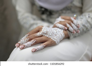 Malay Wedding Close up on Hand With White Henna