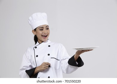 Malay Woman Chef Holding Plate Hand Stock Photo Edit Now 701550220