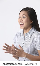 Malay woman with a surprised look.