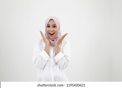 malay woman with tudung on the white background