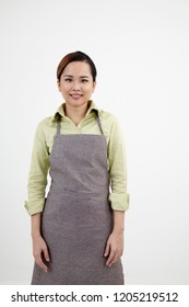 malay woman wear apron on the white background