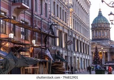 Malaya Konyushennaya Street and the Kazan Cathedral in St. Petersburg, the restoration of the building; St.Petersburg, Russia - 16 January 2018
