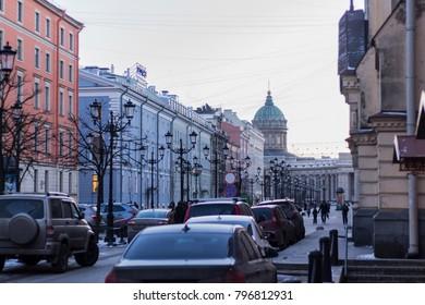 Malaya Konyushennaya Street and Kazan Cathedral in St.Petersburg; St.Petersburg, Russia - 16 January 2018