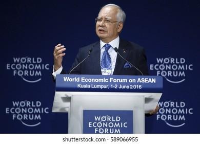 MALAYSIA 01 JUNE 2016 - Prime Minister of Malaysia, Datuk Seri  Najib Tun Razak, in his keynote address the World Economic Forum (WEF) ranked ASEAN 2016.