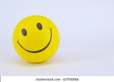MALAYSIA - 10 MAY, 2017. Image of a yellow ball with Smiley face (smiley).On white background.