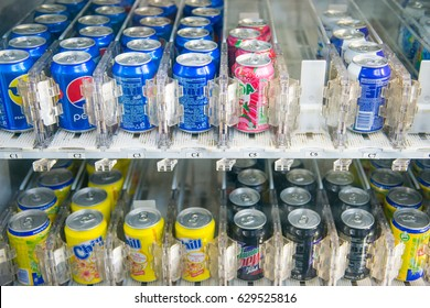 Malaysia - 12 Febuary 2017 :: soft drink water vending machine at Market, beverage